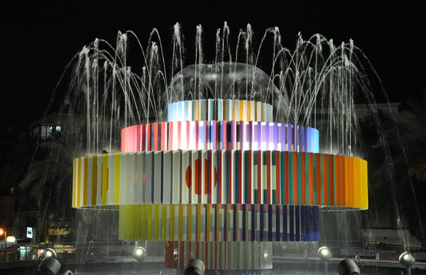 Jakov Agam Fountain-by-Yaacov-Agam-by-night